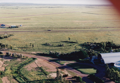 Colour aerial photograph of landscaping West of ASHOF Building, Longreach.  ; c 1990; 16588