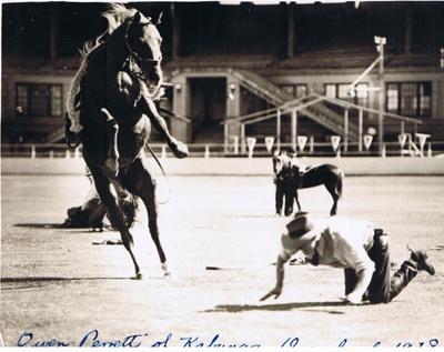 """Man bucked off horse.  """"Owen Parrett Kabunga Queensland 1938""""  ; 1938; 7406"""