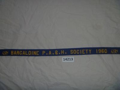 Sash - Barcaldine P.A.&.H Society. ; Barcaldine P.A.&.H Society; 1960; 14213