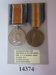 Object - British War Medal and Victory Medal awarded to Thomas Binny McInnes; After 1919; 14374