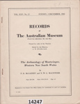 Book: Records of the Australian Museum: The Archaeology of Mootwingee, Western New South Wales. ; McCarthy, F D, MacIntosh NWG; 1962; 14247