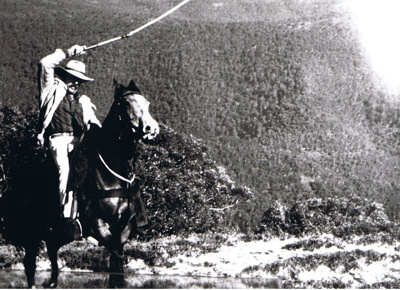 Photograph - Man on horseback cracking a whip. ; 9156