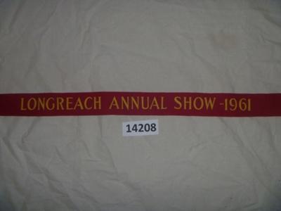 Sash - Longreach Annual Show. ; Longreach Annual Show; 1961; 14208