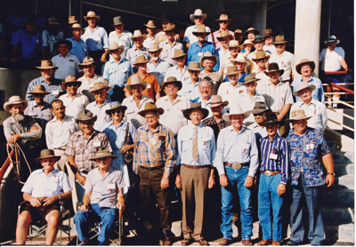 Colour photograph of numerous participants at 1990 Drovers Reunion at ASHOF Building, Longreach.   ; 1990; 16585
