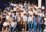 Colour photograph of numerous participants at 1990 Drovers Reunion at ASHOF Building, Longreach.   ; 1990; 16585