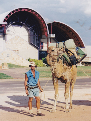 Photograph - Man with camel at the Stockman's Hall of Fame. ; 1998; 17774