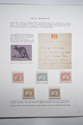 Page 43, 1912 Kangaroo and Map - Horizontal essays for 3d, 9d, 1/- (x2), 20/-, using Baldy's roo, 7231