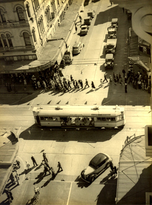View from above of new traffic lights at the corner of Adelaide and Edward Streets; 1937; PM2936