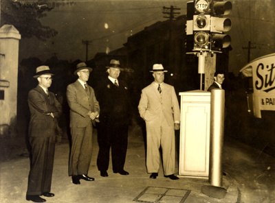 Switching on of Brisbane's first traffic lights at the corner of Ann and Albert Streets; 1937; PM2939a