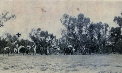 Police encampment at Hungerford during influenza epidemic, ca 24 January 1919; ca 1919; PM3248
