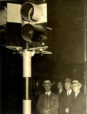 Switching on of Brisbane's first traffic lights at the corner of Albert and Queen Streets; 1937; PM2939b