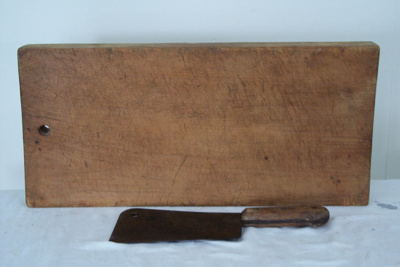 Meat Cleaver and Wood Board; unknown; unknown; 2010.2.1129