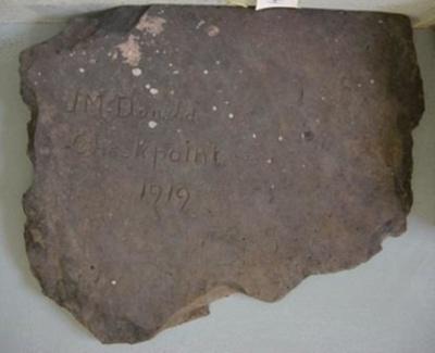 Inscription J. McDonald 1919; QS2007.37
