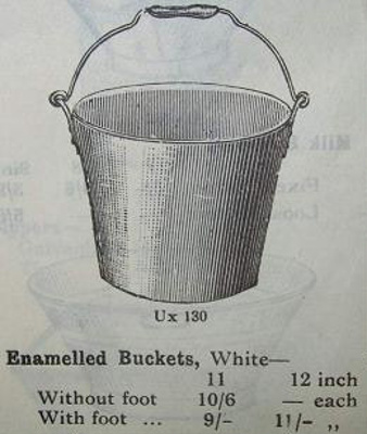 Bucket, white enamelled ware, used during milking