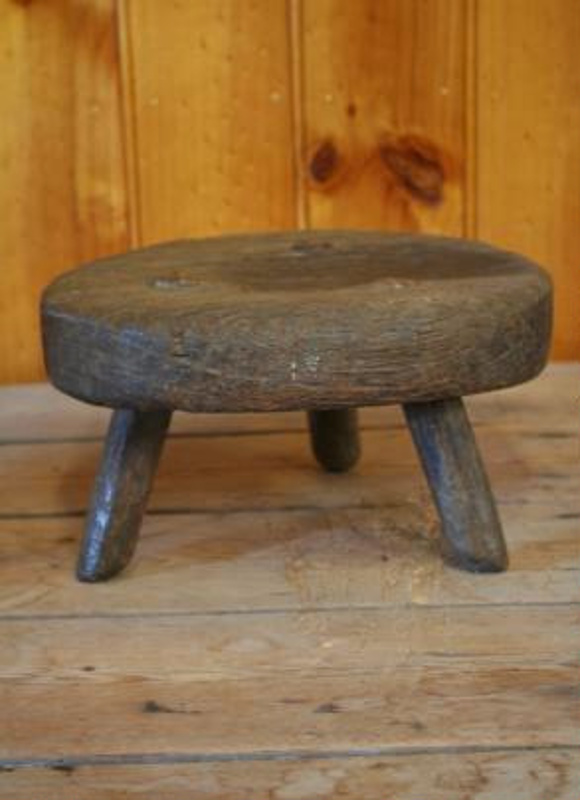 Greatest Stool, used for milking, wood, round seat, 3 legged, made by  AS79