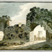 Mounted watercolour of Greyfriars Priory gateways, Dunwich, by Dorothea Pike Scrivenor, 1801, with tower of All Saints' Church visible through right-hand arch; Scrivenor, Dorothea Pike; 1801; DUW...