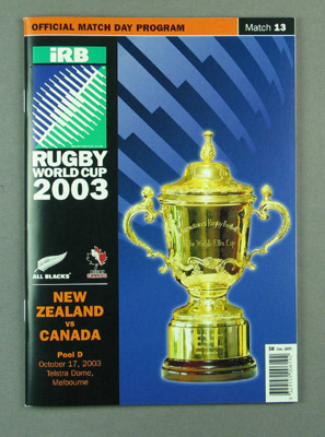 Rugby union match program - New Zealand v Canada, 2003 Rugby World Cup; Unknown; 2003; M12105