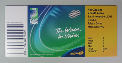 Rugby union poster, Rugby World Cup, 2003; Unknown; 2003; M12342