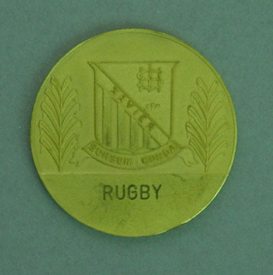 Rugby union U15 medal, Xavier College, Melbourne; Unknown; 1972; 1999.3565.37