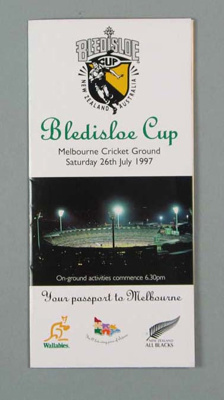 Rugby union Melbourne tourist pamphlet, 1997; Unknown; 1997; M16089