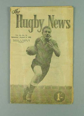 Rugby union match program,