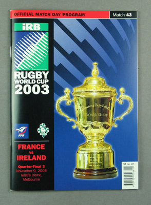 Rugby union match program - France v Ireland, 2003 Rugby World Cup; Unknown; 2003; M12107.1