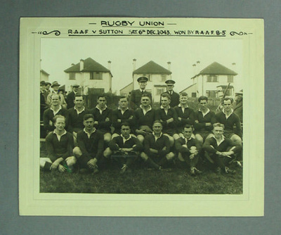 Rugby union photograph, RAAF rugby union team, 1943; Unknown; 1943; M8195