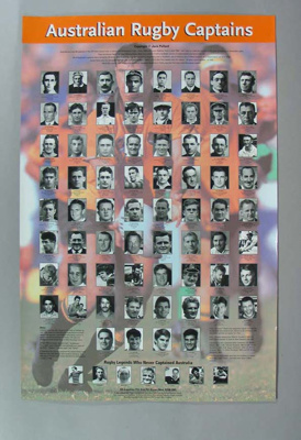 Australian Rugby Captains, poster; Unknown; 1999; 2000.3616.2