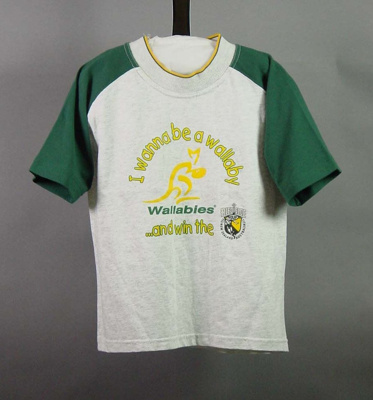 Rugby union, child's Wallaby t-shirt; Unknown; Unknown; 2004.3912.11