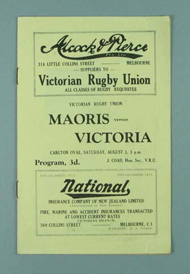 Rugby union match program, Victoria v Maoris, 1935; Mail Print; 1935; 1990.2202.63