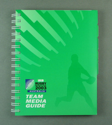 Rugby World Cup media guidebook, 2003; Unknown; 2003; M12099