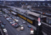 Slide, Photographic; Aerial view of the Chicago & North Western Railroad station from the roof of the Elmhurst National Bank Building; Robert Kross; 1975; M91.70.280