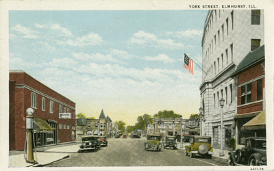 Postcard, York Street; C. T. American Art Colored, Elmhurst News Agency; 1929; P73.6.2