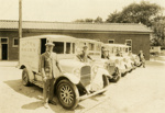 Photograph, Rabe's Dairy delivery vehicles with drivers; M2011.12.34