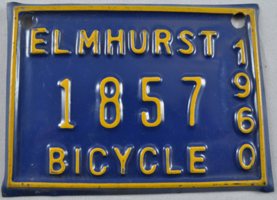 Bicycle license plate; 1960; 2010.29.1