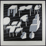 Untitled [Furniture and geometric shapes]; 1970; 1972:0096:0013