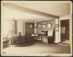 Untitled, (Room with table and chairs lined up against the wall). ; Moulton-Erickson Photo Co.; c.a. 1890; 1977:0074:0006