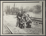 [Untitled, Four Civil War Re-enactor's on train tracks].; Hendee, Keith F.; 1981; 1981:0098:0004