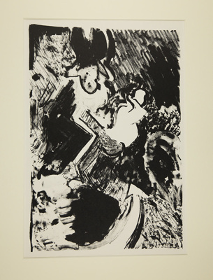 Untitled [arrow pointing to abstract shapes] ; Fichter, Robert; ca. 1960-1970; 1971:0455:0002