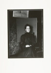 [Untitled, woman in Edwardian dress posing in front of screen]; Wells, Alice; 1969; 1976:0025:0005