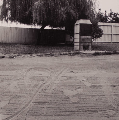 [Sand with footprints, tree and fence in background]; Bishop, Michael; 1969; 1982:0070:0001