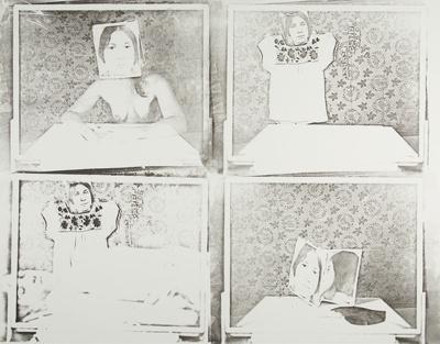 Untitled [Dress, woman, and photographs]; Lyons, Joan; 1974; 1975:0006:0009