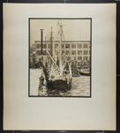 [ice-covered boat at snowy dock, New York]; Hahn, Alta Ruth; ca.1930; 1982:0020:0032