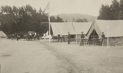 Red Cross Hospital at Presidio [soldiers standing in front of medical tents].; Chadwick, Harry W. (1860-1933); 1906; 1978:0151:0026