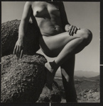 Untitled [Nude leaning on a rock]; Dutton, Allen; ca. 1970s; 2000:0142:0008