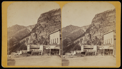 [Stereographic view of Third Street, Ouray, Colorado]; Unknown; ca. 1875; 1975:0025:0582