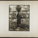 [woman standing under arbor in garden with coat and beret]; Hahn, Alta Ruth; ca.1930; 1982:0020:0022