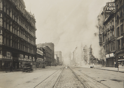 Fire Starting on Market, opposite McAlister Rogers store at 5:30 AM; Chadwick, Harry W. (1860-1933); 1906; 1978:0151:0010