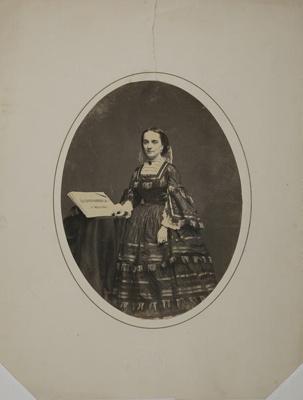 [Illegible] Scoucia [ Woman Standing With La Sonnambula Manuscript]; Frederick J.; circa 1890; 1973:0181:0022