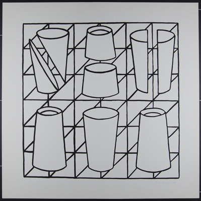 Untitled [Black and white geometric shapes on a grid]; Kapsalis, Thomas; 1970; 1972:0096:0024